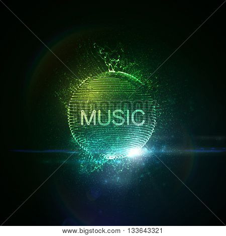 Music neon sign. 3D illuminated distorted sphere of glowing particles, wireframe, splashes and lens flare optical light effect. Music disco party. Vector illustration. Disco ball.
