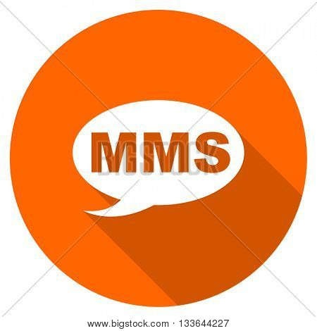 mms vector icon, circle flat design internet button, web and mobile app illustration