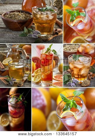 collage of fresh and cold ice tea with sliced fruits and mint
