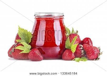 Healthy strawberry juice with pulp on a white background