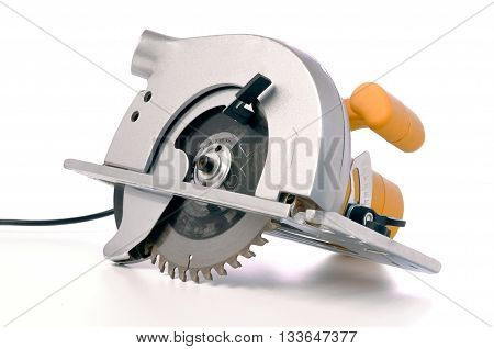 Circular electric saw isolated on white background