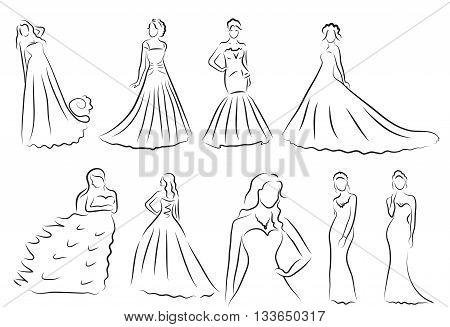 Bride Silhouette set Sketch bride the bride in a beautiful wedding dress vector