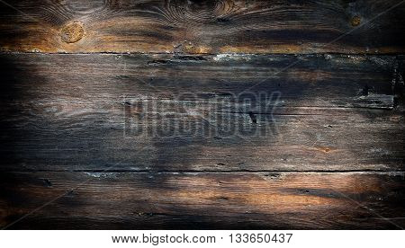 Large old wooden grunge background with dark vignette