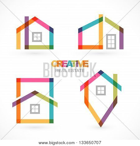 Creative house abstract real estate icons set. Vector illustration Eps 10