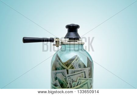 symbol preserving money in a glass jar