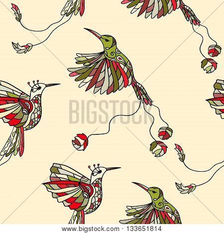 Seamless pattern with colibri. Colored tropical bird. Hummingbird colibri vector illustration bird, colibri birds set
