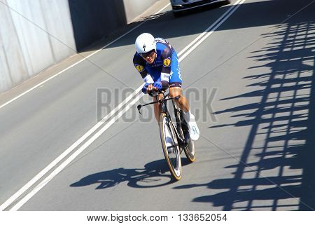 APELDOORN, NETHERLANDS-MAY 6 2016: Carlos Verona of pro cycling team Etixx-Quick Step during the Giro d'Italia prologue time trial.