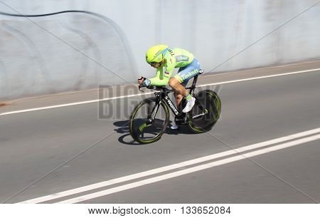 APELDOORN, NETHERLANDS-MAY 6 2016: Ivan Rovny of pro cycling team Tinkoff during the Giro d'Italia prologue time trial.