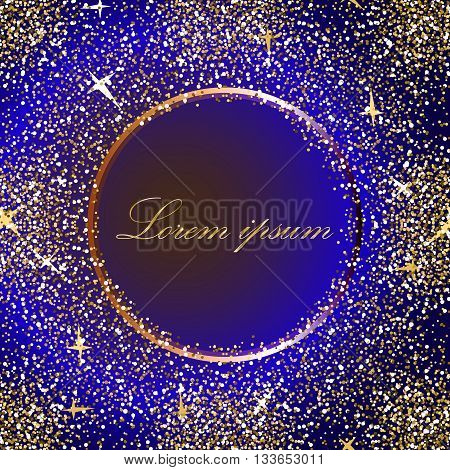 Golden splash or glittering spangles round frame with empty center for text. Gold circle made of tiny uneven dots abstract background. Golden blobs textured round frame on dark blue backdrop.