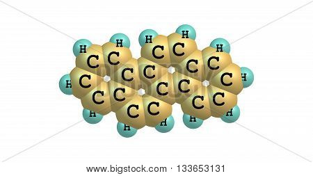 Chrysene is a polycyclic aromatic hydrocarbon - PAH - with the molecular formula C18H12. 3d illustration