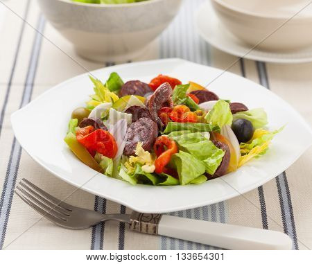 A mxed salad with lettuce bell pepper tomato onion black pudding morcilla anchovies and olives.