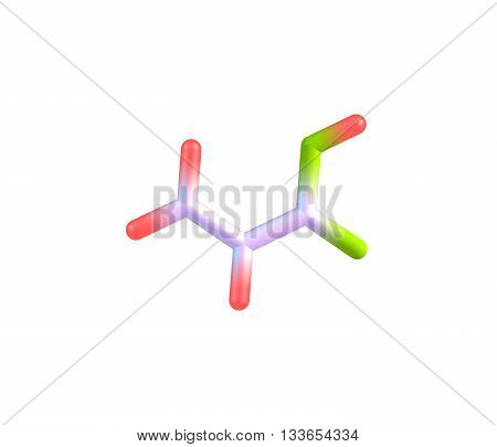 Acrylic acid is an organic compound. It is the simplest unsaturated carboxylic acid consisting of a vinyl group connected directly to a carboxylic acid terminus. 3d illustration