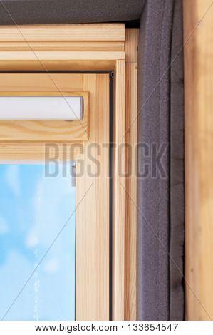 Closeup of insulation detail in dormer window (skylight)