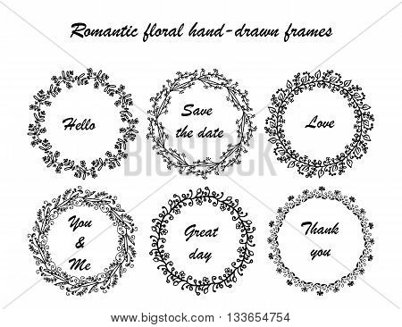 Hand drawn vintage vector design set of round frames. Collection of romantic froral hand-drown frames.