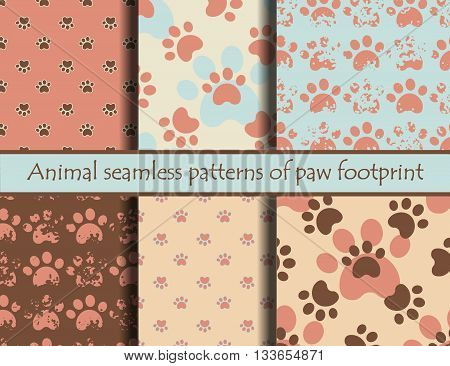 Vector modern illustrationsith animal footprints. Vector seamless pattern set with cat or dog footprints. Can be used for wallpaper, web page background, surface textures, cards and posters. EPS 10