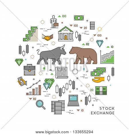 Vector concept for stock exchange. Vector symbol of commodity exchange. Line banner of stock market. Open path.