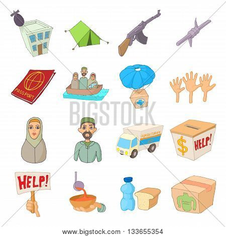 Refugees icons set in cartoon style isolated on white background