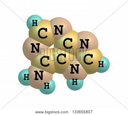 Adenine is a nucleobase - a purine derivative chemical component of DNA and RNA. 3d illustration