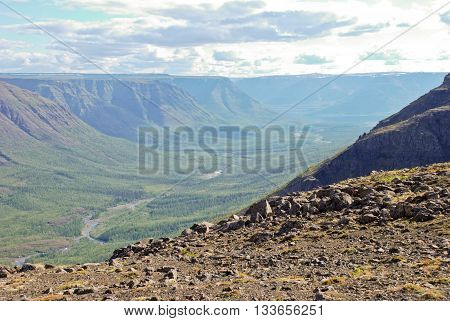 The Putorana Plateau. The valley of the river Bucharama