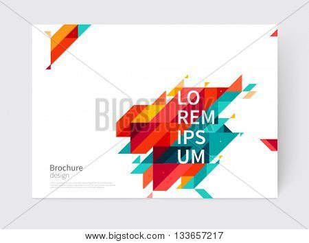 Minimalistic White cover Brochure design. Flyer, booklet, annual report cover template. modern diagonal Abstract background. Blue, yellow and red color stripes & triangles. vector-stock illustration