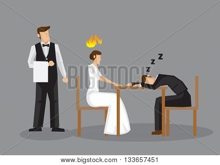 Worn out cartoon man fell asleep over formal dinner leaving his female partner pissed. Vector illustration of an unromantic dinner date isolated on grey background.