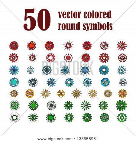 Big set of abstract design flowers. Vector illustration of circular colored variegated symbols. Spirograph colorful  elements
