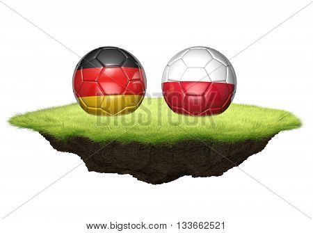Germany and Poland team balls for football championship tournament, 3D rendering