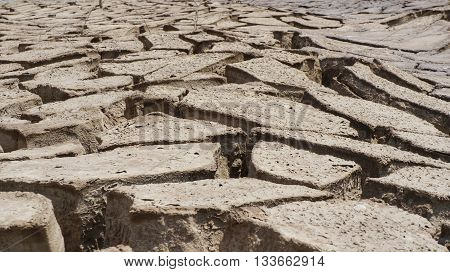 Dry brown soil dried former muddy ground, drought