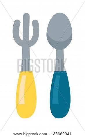 Fork and spoon cutlery dinner dishware and kitchen cutlery tool. Fork and spoon cutlery equipment flatware dining tool. Cutlery Fork and spoon table restaurant vector flat vector illustration.
