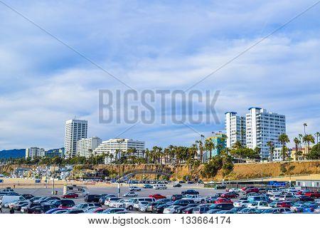 Beach Santa Monica pier at sunset, Los Angeles, Seagull on the beach background