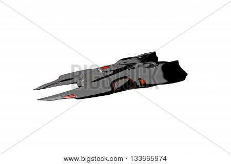 Toon Spaceship in Motion. Nice 3D Rendering