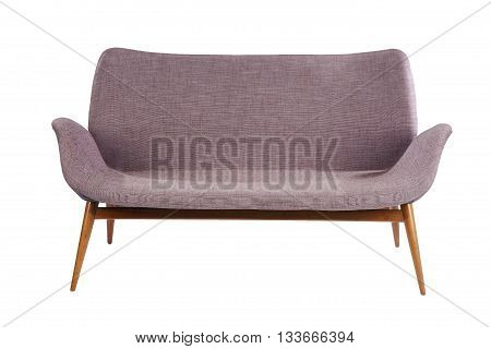 Bright colored sofa retro style isolated on white with clipping path