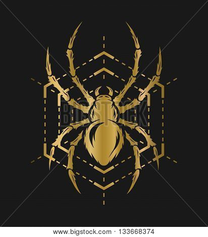 Spider and web in the form of a geometric figure. Golden symbol on a dark background.