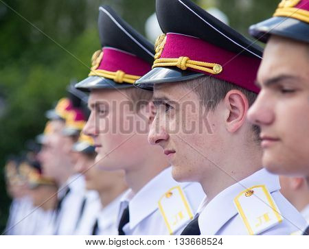 LUTSK UKRAINE - MAY 27 2016: Cadets of the Lutsk military lyceum during the oath. Shallow depth of field.
