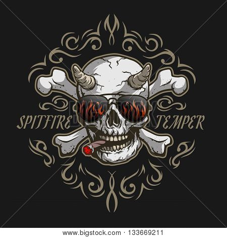 Bones of the skull. Demon in glasses and a cigar on a dark background with a pattern.