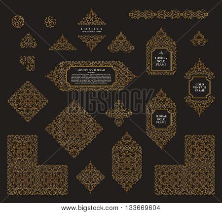 Arabic set of frames and lines of art design template. Muslim gold outline elements and emblems. Eastern floral frame. Logos line pattern for menu, restaurant, wedding invitation. Raster copy