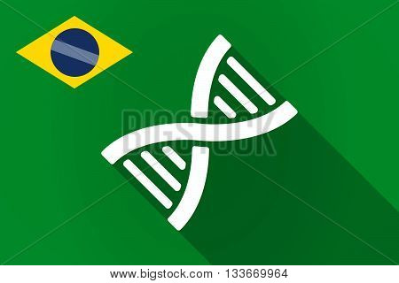 Long Shadow Brazil Flag With A Dna Sign