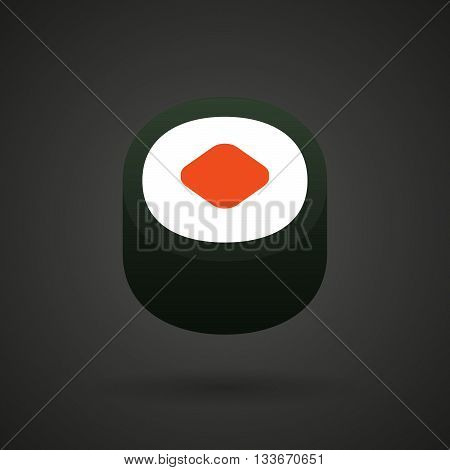 A Piece Of Sushi Maki    Icon On A Dark  Background
