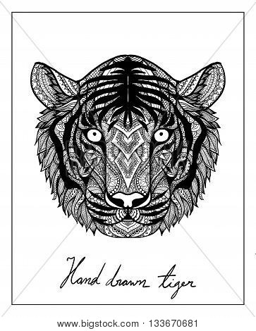 Unique hand drawn tiger for T-Shirt design,mug design,coffee cup design,hand bag design,pillow design and so on - Stock vector