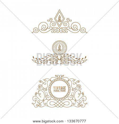 Calligraphic Luxury line logo template. Flourishes calligraphic elegant emblem. Royal design. Gold logo decor for menu card invitation label, Restaurant, Cafe, Hotel. Vintage line symbol. Raster copy