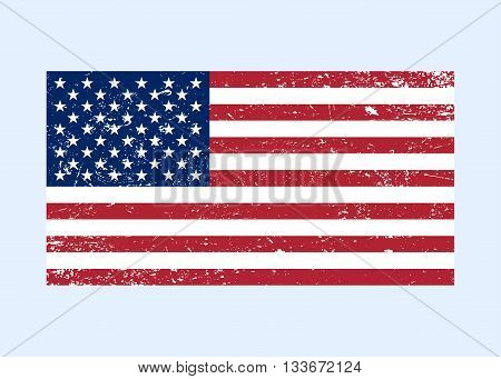 Flag USA sign Grunge. National symbol of freedom independence. Original simple United State Of America flag isolated on white background.