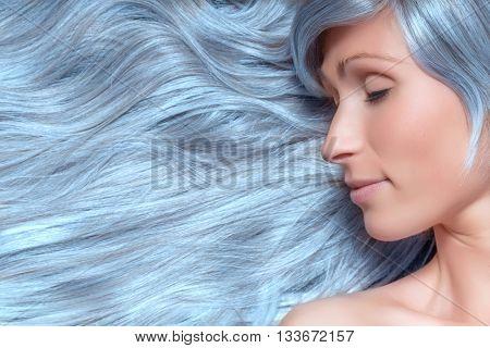 hair beauty model blue grey