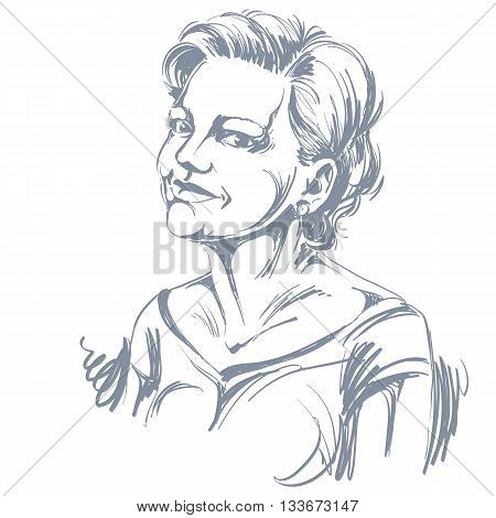 Hand-drawn portrait of white-skin romantic woman face emotions theme illustration. Beautiful tender lady posing on white background.