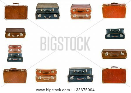 Frame from old suitcases. Collage of retro travel suitcases isolated on white. Set of old suitcases. Brown and black retro suitcase. Vintage baggage. Vintage travel bags.
