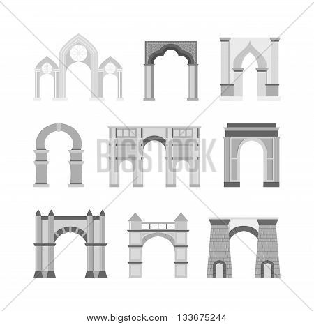 Arch vector set and architecture ancient frame arch. Column entrance design arch and arch classical construction. History antique culture pillar exterior facade arch. Ornament gateway monument.