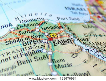 Map with focus on Kairo and Gizeh, Egypt.
