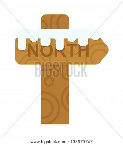 Wooden north sign post elements and vector north sign christmas arrow. North sign direction arrow design and travel symbol pole snow north sign. Map discovery adventure wooden shape north sign.