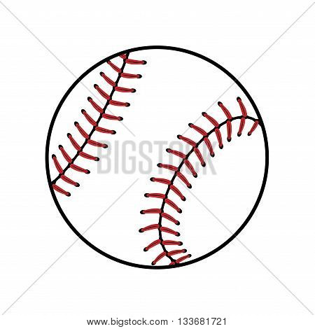 Baseball ball sign. Colored softball icon isolated on white background. Equipment professional american sport. Symbol play team game and competition recreation. Simple design. Vector illustration