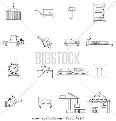 Warehouse management icons set in outline style isolated on white background