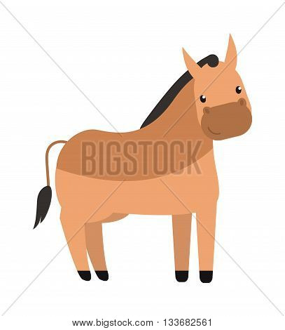 Cartoon stallion with long mane horse portrait isolated on white background. Cartoon stallion wild animal and stallion farm mammal mane vector. Strong stallion fast speed horse sport animal. poster